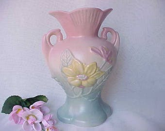 "1940s Hull Art Pottery Magnolia Matte 6"" Handled Vase w/Pink Top and Blue Base, Mid Century Yellow Floral Home Decor, Vintage Flower Holder"