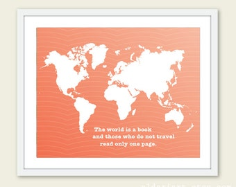 World Map Digital Print - World Traveler - Peach Coral - Ombre Color Fade - Wall Art  - Spring Summer Modern Home Decor - Typography