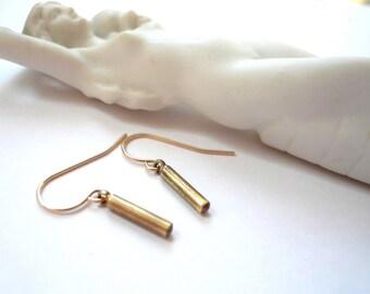 Gold bar earrings Minimalist dangles Gold dangles Little vintage brass rods 14K gold fill (GF) earwires Recycled petite geometric pendants
