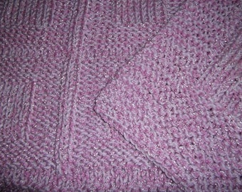 Baby to Toddler Knitted Afghan Blanket - Raspberry Sparkle