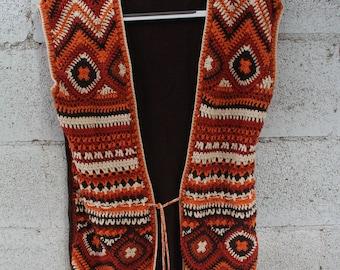 Vintage 70s crochet vest