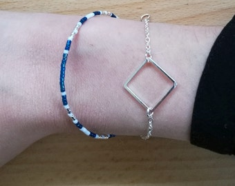Square bracelet silver and blue beads