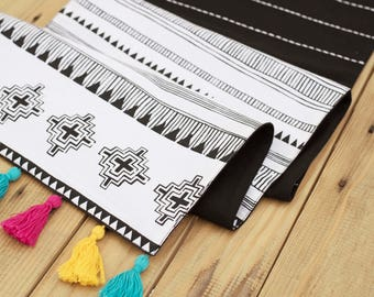 Aztec runner, geometrical print, black and white, cotton table runner, aztec, size available