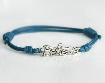 Believe Bracelet, Believe Anklet, Message Bracelet, (many colors to choose)