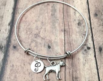 Boxer dog initial bangle - boxer jewelry, dog breed jewelry, boxer owner gift, dog breed bracelet, silver boxer dog pendant, boxer bangle