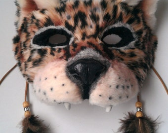SOLD Spirit/Totem Animal (Jaguar) Mask (AVAILABLE made to order)