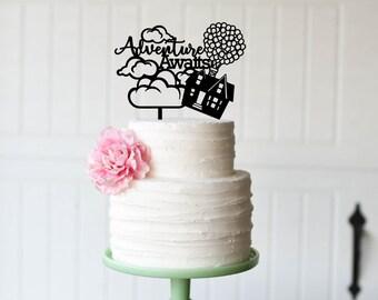 Wedding Cake Topper, Adventure Awaits Wedding Cake Topper, Up Inspired Wedding Cake Topper, Personalized Cake Topper for Wedding, Up Wedding