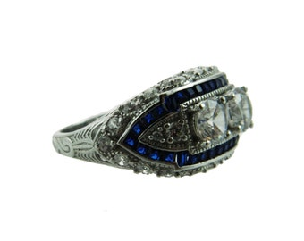 Sterling Art Deco Ring with Simulated Sapphires and Diamonds