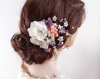 floral headpiece, floral hair clip, bridal hair clip, peach wedding, purple hair clip, white flower hair clip, wedding headpiece w/ crystals