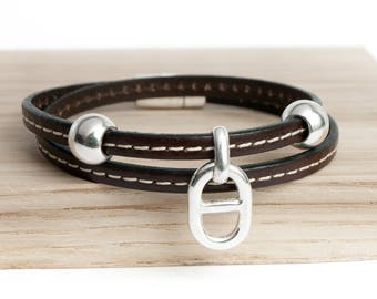 Small double seamed round link bracelet leather dark brown Navy