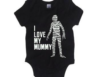 I Love My Mummy Glow In The Dark Romper Suit / Monster Babygrow Baby Bodysuit Black / Sizes 3-6M 6-12M 12-18M 18-24M