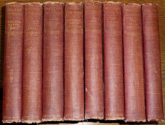 Parisian Life (8 of 10 volumes) 1901 Honore de Balzac Anthology Series Set Antique Vintage English Language Classic