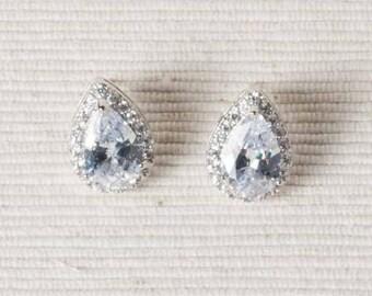 Cubic Zirconia Earrings, Teardrop Stud Earrings, Bridal Earrings, Wedding Earrings, Clear Crystal, Vintage Style Earrings, Sparkly Earrings