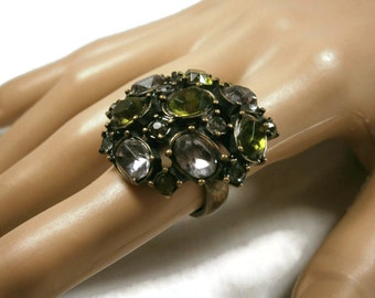 Bronze Cocktail Ring with Clear and Peridot Rhinestones, Domed Ring, Size 6 1/4 Statement Ring