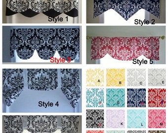 Black and white window valance, lined window valance black and white,decorative valance,   lined black and white valance