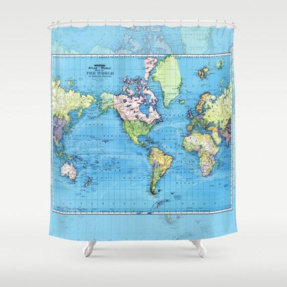 Carte de monde mercator carte douche rideau carte - Rideau de douche carte du monde ...