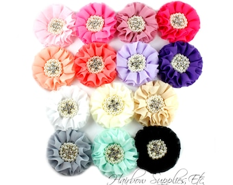 Chiffon Pearl Flowers 3-1/2 inch - Choose Color and Quantity - Hairbow Supplies, Etc.