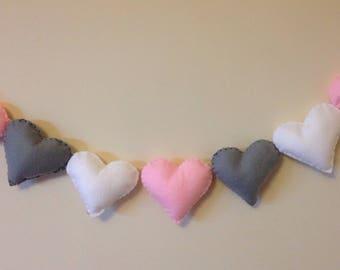 Felt garland, heart garland, pink hearts, pink heart garland, nursery garland, nursery decor, valentines decor, wedding garland