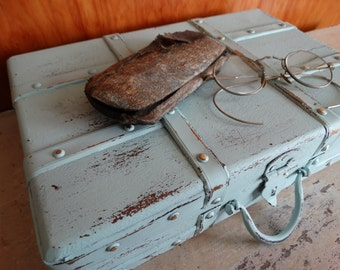 Upcycled Distressed Wooden Tote Box with Metal Strapping . Choice of White/Robins Egg Blue . Desktop/Studio Storage . Farmhouse Decor Accent