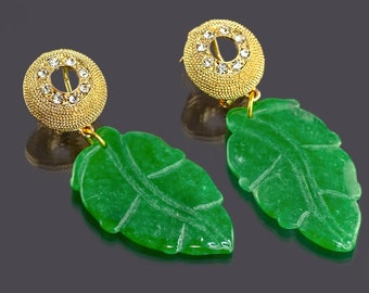 Sparkling Green Jade Leaf Earrings