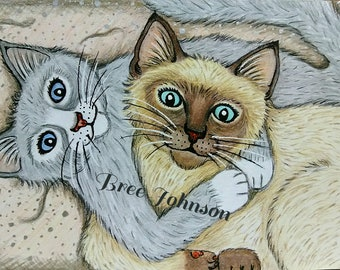 Artwork Siamese Cat Animal Love Cute Sweet Cats
