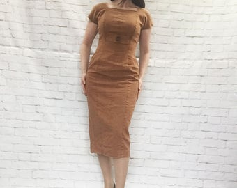 Vintage 80s Does 50s Linen Wiggle Shift Midi Dress S M Cap Sleeves Caramel Brown Clearance Sale