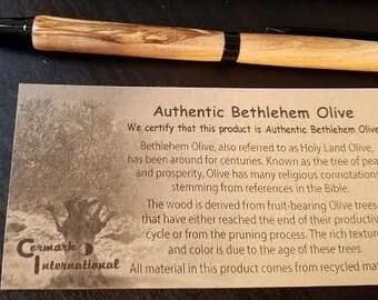 Handmade Bethlehem Olive wood pens from the Holy Land