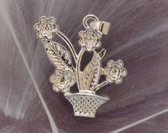 Basket and flowers in 925 sterling - silver pendant