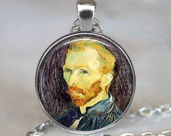 Van Gogh necklace, Van Gogh portrait necklace, Van Gogh art jewelry art teacher gift art student gift Van Gogh self portrait artist gift