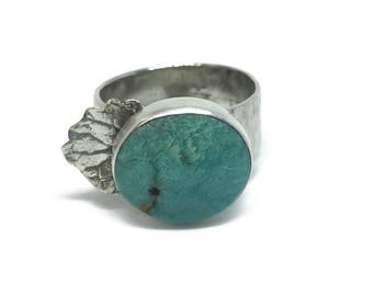 Turquoise Ring Gemstone Ring Sterling Silver Leaf Ring Nature Jewelry Engagement Ring Leaf Jewelry Boho Wedding Statement Ring Gemstone Ring