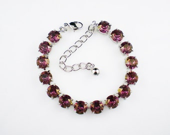 Lilac Shadow Rhinestone Bracelet, Lavender Violet Pink, , Wedding Jewelry, Bridesmaid Jewelry