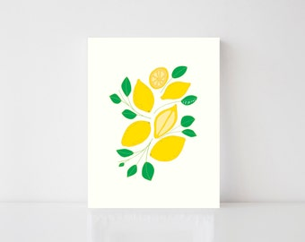 Lemons, Art, Print, Kitchen, Illustration, Fun, Unique, Colorful, Hand Lettering, 8x10, 5x7, Food, Summer, Playful, Children, Whimsical,