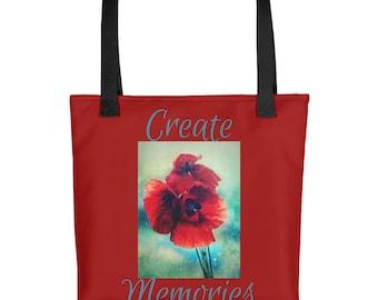 "Create Memories Red Poppy Floral Design 15""x15"" Tote Market Book Bag"