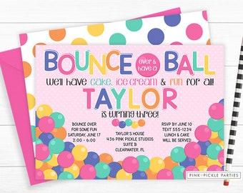 Bouncy Ball Invitation for girls, Bouncy Ball Birthday Party Invitation, Ball Invitation, Bouncy Ball Party,Ball Invite,Ball Pit Party | 436