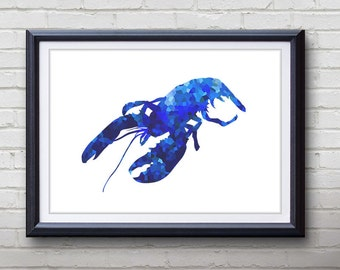 Blue Lobster Ocean Animal Print - Home Living - Lobster Painting - Lobster Wall Art - Wall Decor - Home Decor, House Warming Gifts
