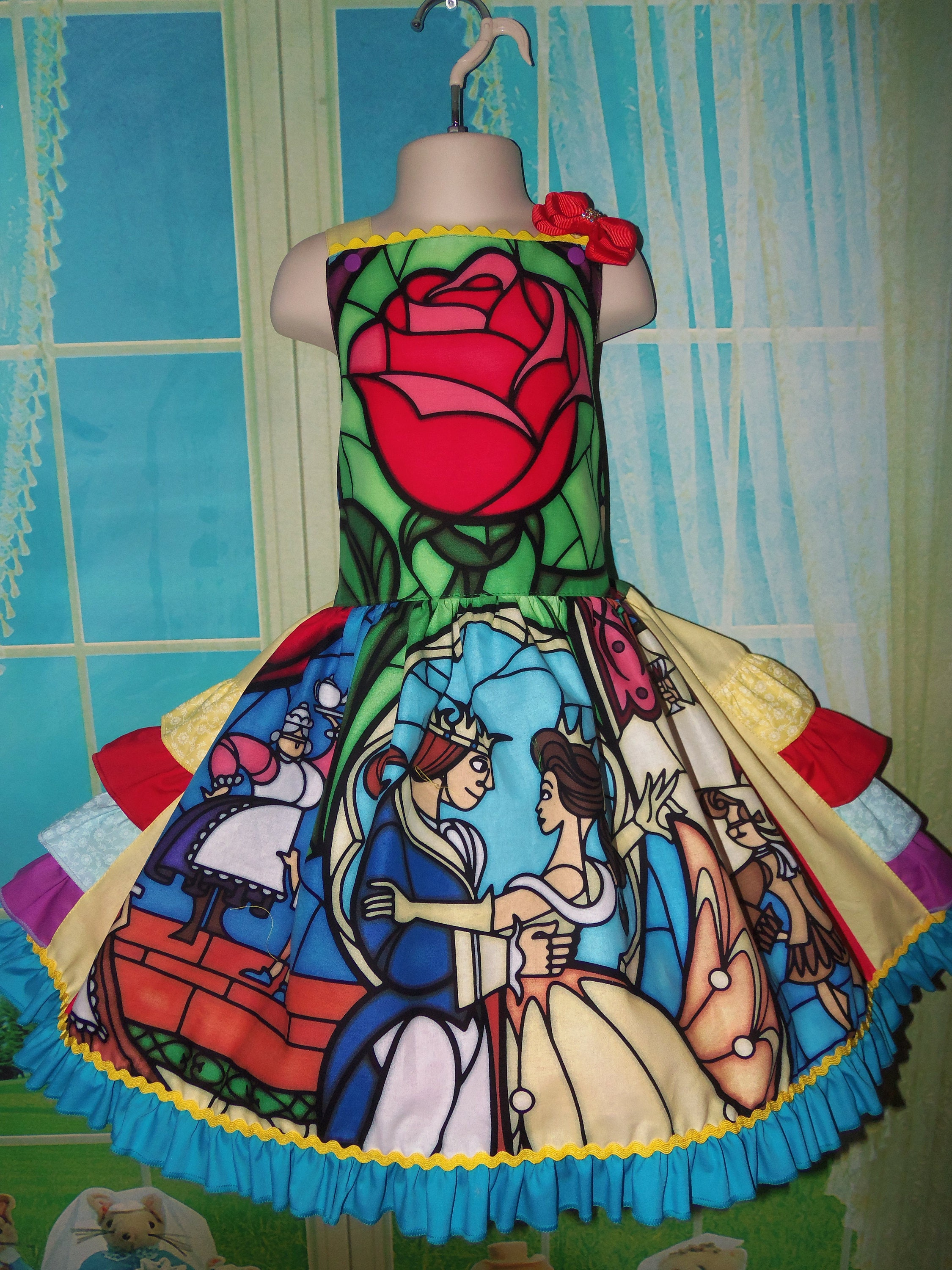 Beauty and The Beast Stained Glass peasant twirl dress