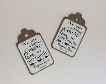 We are adding S'more Love to our family Favor Tags, Set of 12 Baby Shower Gift Tags