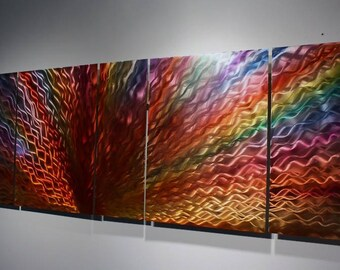 Wilmos Kovacs Rainbow Metal Wall Art, Multi Panel Painting on Metal - W88