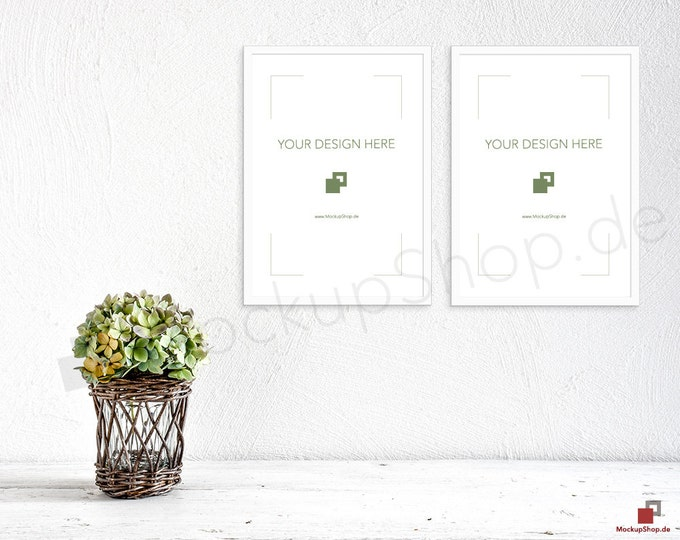 Set of 2 A4 WHITE FRAME MOCKUP white nordic vertical portrait hortensia / Scandinavian / Nordic Scene / stock photography / instant download