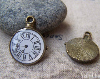 6 pcs of Antique Bronze Enamel Clock Charms Small Size 18x23mm A473