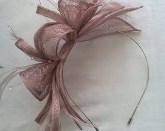 Stunning Cameo Sinamay and  Feather rosette Fascinator with crystal stamens
