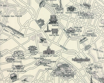 Tokyo Map Fabric - Passport by 3 Sisters for Moda 33011 21 Black White -  Priced by the Half yard