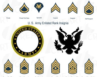 US Army enlisted rank insignia collection, US Army frame clip art pack, United States Armed Forces clip art, vector, PNG, svg , eps files