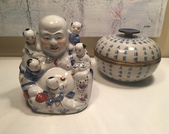 """Vintage Ho Tai """"The Laughing Buddha"""" with 5 Children Ceramic Porcelain Figure"""