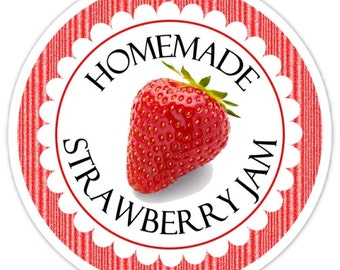 Custom Kitchen Labels or Canning Labels, Made For You Stickers, Strawberry Jam Stickers, Personalized Labels, From The Kitchen Stickers