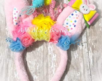 Easter Bunny Ears Spring Birds headband