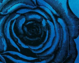 Silk Screen Rose Print on Teal Corduroy Aline Cotton Skirt