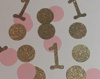 Deluxe Gold and Pink Birthday confetti, confetti, glitter confetti, party decorations, 1st birthday