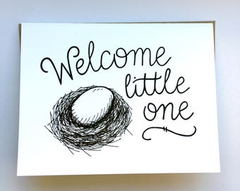 Welcome Little One - Hand Lettered Greeting Card for Baby Shower