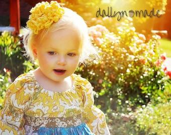 Yellow Flower Bow, Child's Hair Clip, Chrysanthemum, Girl's Hair Accessory, Photo prop